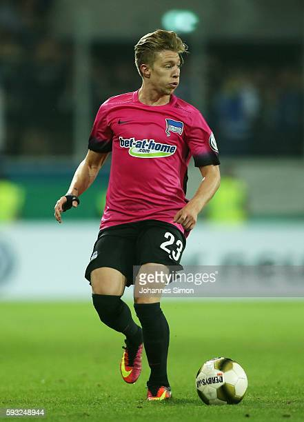 Mitchell Weiser of Berlin in action during the DFB Cup match between Jahn Regensburg and Hertha BSC at Continental Arena on August 21 2016 in...