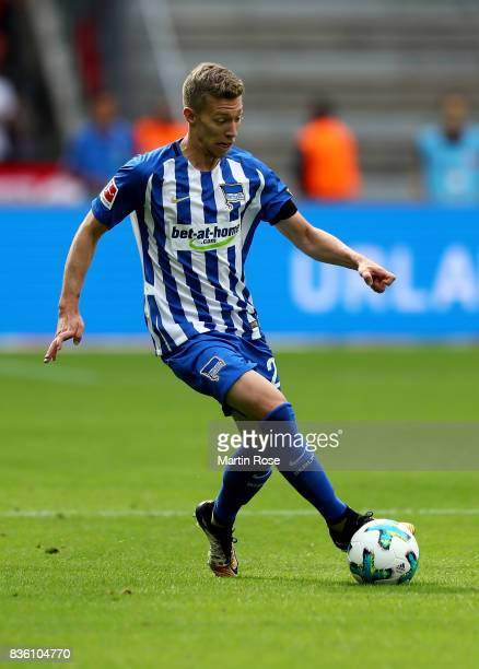 Mitchell Weiser of Berlin runs with the ball during the Bundesliga match between Hertha BSC and VfB Stuttgart at Olympiastadion on August 19 2017 in...