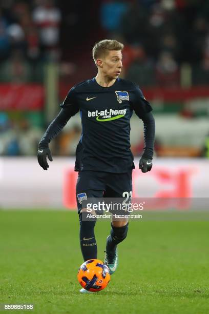 Mitchell Weiser of Berlin runs with the ball during the Bundesliga match between FC Augsburg and Hertha BSC at WWKArena on December 10 2017 in...