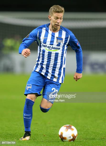 Mitchell Weiser of Berlin runs with the ball during the UEFA Europa League group J match between Hertha BSC and Athletic Bilbao at Olympiastadion on...