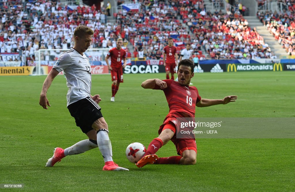 Mitchell Weiser of Germany and Milan Havel of Czech Republic during their UEFA European Under-21 Championship match on June 18, 2017 in Tychy, Poland.