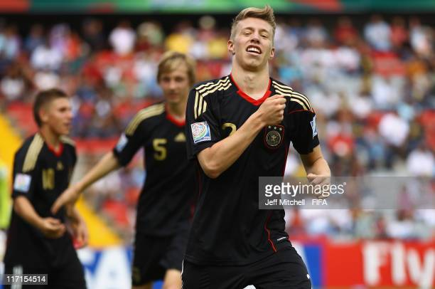Mitchell Weiser of Germany celebrates after scoring during the Group E FIFA U-17 World Cup match between Burkina Faso and Germany at the Corregidora...