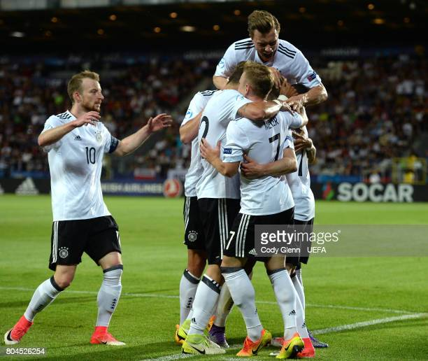 Mitchell Weiser of Germany celebrates after scoring his side's first goal during their UEFA European Under21 Championship 2017 final match against...