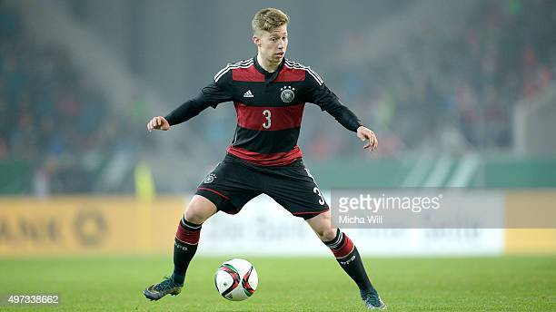 Mitchell Weiser of Germany controls the ball during the 2017 UEFA European U21 Championships Qualifier between U21 Germany and U21 Azerbaijan at...