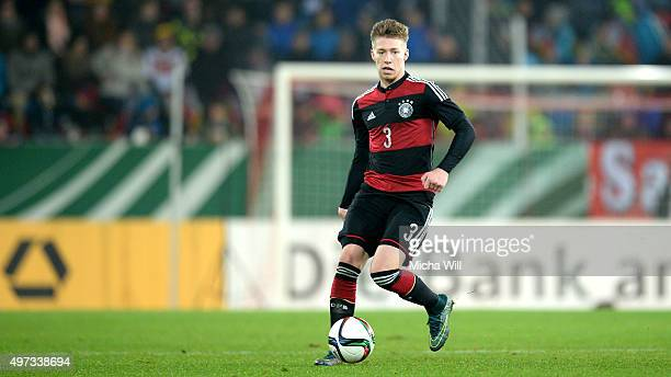 Mitchell Weiser of Germany runs with the ball during the 2017 UEFA European U21 Championships Qualifier between U21 Germany and U21 Azerbaijan at...