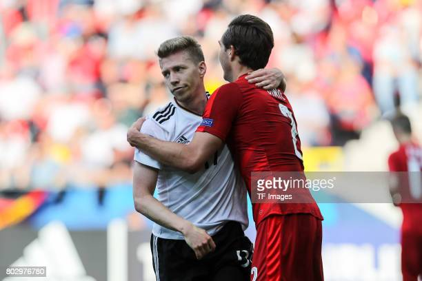 Mitchell Weiser of Germany Stefan Simic of Czech Republic during the UEFA European Under21 Championship Group C match between Germany and Czech...