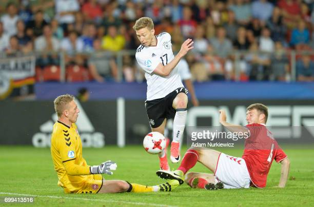 Mitchell Weiser of Germny shoots during the UEFA European Under21 Championship Group C match between Germany and Denmark at Krakow Stadium on June 21...