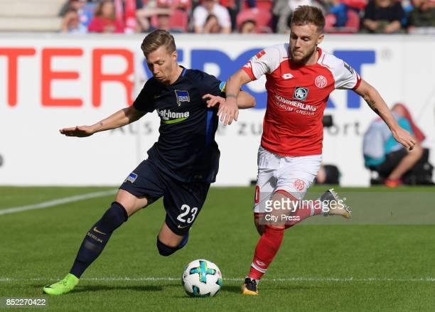 Mitchell Weiser of Hertha BSC and Alexandru Maxim of FSV Mainz 05 during the game between FSV Mainz 05 and Hertha BSC on september 23 2017 in Mainz...