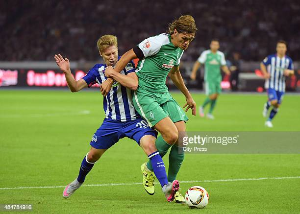 Mitchell Weiser of Hertha BSC and Jannik Vestergaard of Werder Bremen during the game between Hertha BSC and Werder Bremen on August 21, 2015 in...