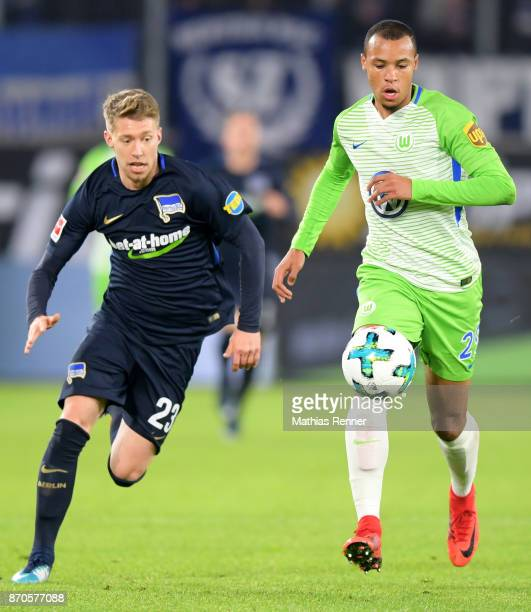Mitchell Weiser of Hertha BSC and Marcel Tisserand of VfL Wolfsburg during the game between VfL Wolfsburg and Hertha BSC on november 5 2017 in...