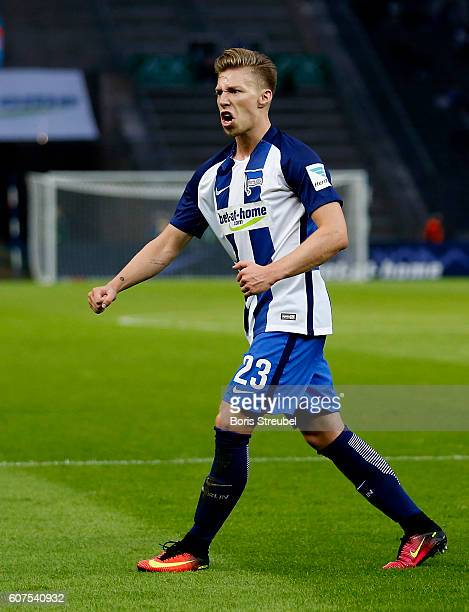Mitchell Weiser of Hertha BSC celebrates after scoring his team's first goal during the Bundesliga match between Hertha BSC and FC Schalke 04 at...
