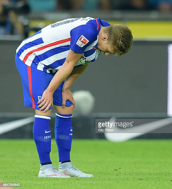 Mitchell Weiser of Hertha BSC during the game between Hertha BSC and Werder Bremen on August 21, 2015 in Berlin, Germany.