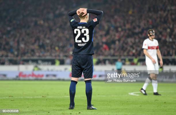Mitchell Weiser of Hertha BSC during the game between VfB Stuttgart and Hertha BSC on January 13 2018 in Stuttgart Germany