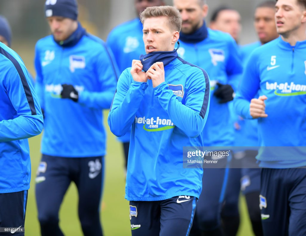 Mitchell Weiser of Hertha BSC during the training session at the Schenkendorfplatz on march 13, 2018 in Berlin, Germany.