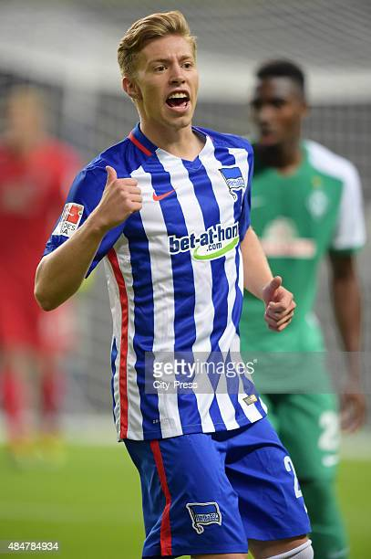 Mitchell Weiser of Hertha BSC gestures during the game between Hertha BSC and Werder Bremen on August 21, 2015 in Berlin, Germany.