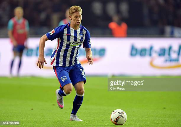 Mitchell Weiser of Hertha BSC handles the ball during the game between Hertha BSC and Werder Bremen on August 21, 2015 in Berlin, Germany.