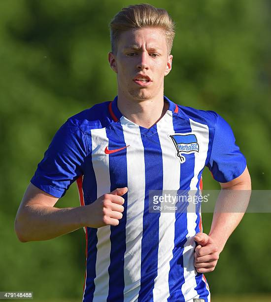 Mitchell Weiser of Hertha BSC in action during the game between dem 1. FC Luebars and Hertha BSC on July 1, 2015 in Berlin, Germany.