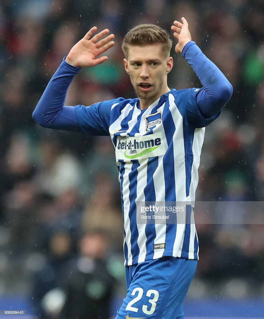 Mitchell Weiser of Hertha BSC reacts during the Bundesliga match between Hertha BSC and Sport-Club Freiburg at Olympiastadion on March 10, 2018 in Berlin, Germany.