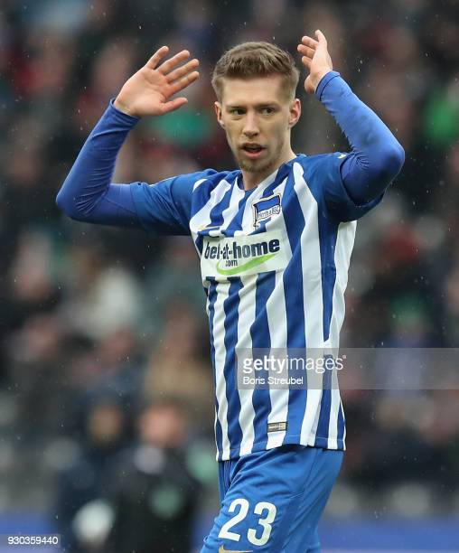 Mitchell Weiser of Hertha BSC reacts during the Bundesliga match between Hertha BSC and SportClub Freiburg at Olympiastadion on March 10 2018 in...