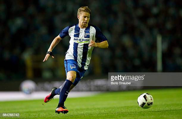 Mitchell Weiser of Hertha BSC runs with the ball during the UEFA Europa League third qualifying round first leg match between Hertha BSC Berlin and...