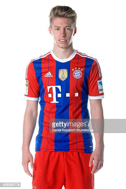 Mitchell Weiser poses during the FC Bayern Muenchen Team Presentation for DFL on August 9 2014 in Munich Germany