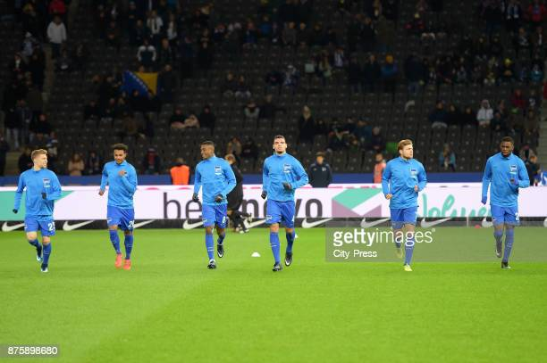 Mitchell Weiser Valentino Lazaro Salomon Kalou Karim Rekik Alexander Esswein and Jordan Torunarigha of Hertha BSC before the game between Hertha BSC...
