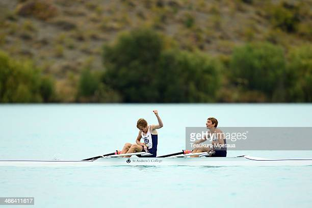 Mitchell White and Ben Taylor of St Andrews College celebrate winning the mens novice double sculls final during the South Island Club Championships...