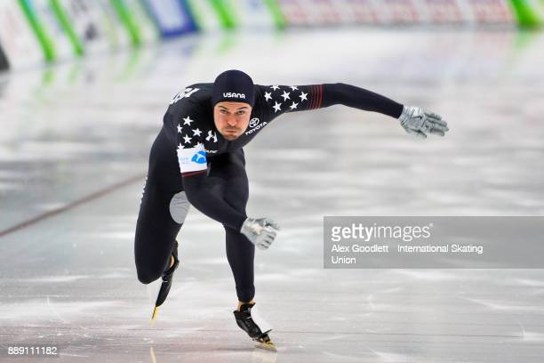 Mitchell Whitmore of the United States competes in the men's 500 meter race during day 2 of the ISU World Cup Speed Skating event on December 9 2017...