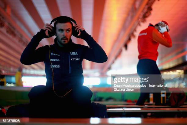 Mitchell Whitmore of the USA takes his headphones off before he competes in the Mens 500m race on day two during the ISU World Cup Speed Skating held...