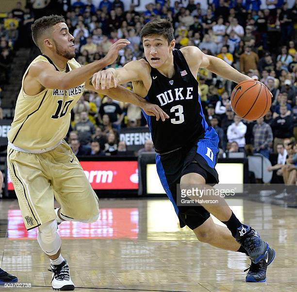 Mitchell Wilbekin of the Wake Forest Demon Deacons defends Grayson Allen of the Duke Blue Devils during their game at LJVM Coliseum Complex on...
