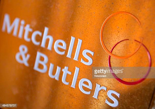 Mitchells and Butlers Plc logo on the door of an O'Neills Pub. 20/05/09.