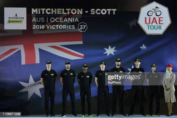 Mitchelton - Scott from Australia, during the Team Presentation, at the opening ceremony of the 1st UAE Tour, inside Louvre Abu Dhabi museum. On...