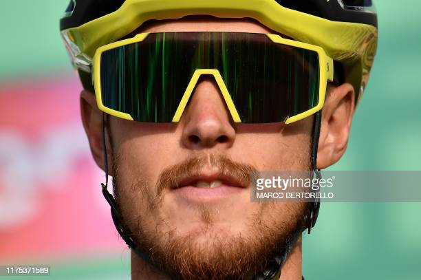Mitchelton Scott Italian rider Matteo Trentin waits at the start of the 113th edition of oneday Classic Il Lombardia cycling race on October 12 2019...