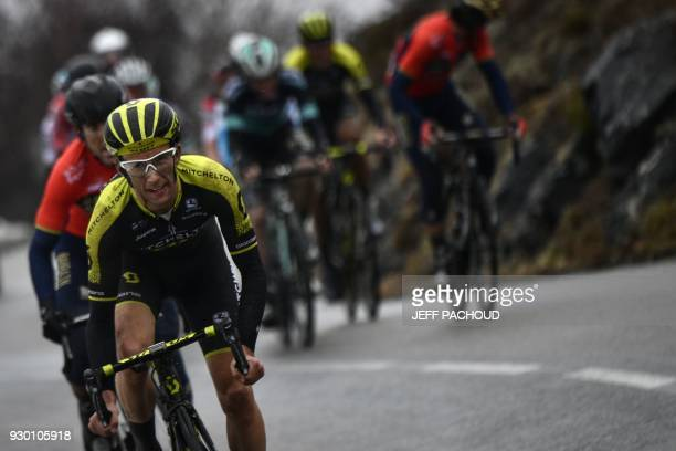 Mitchelton-Scott cycling team's Simon Yates from Great Britain rides in a breakaway towards the finish line during the seventh stage of the Paris -...
