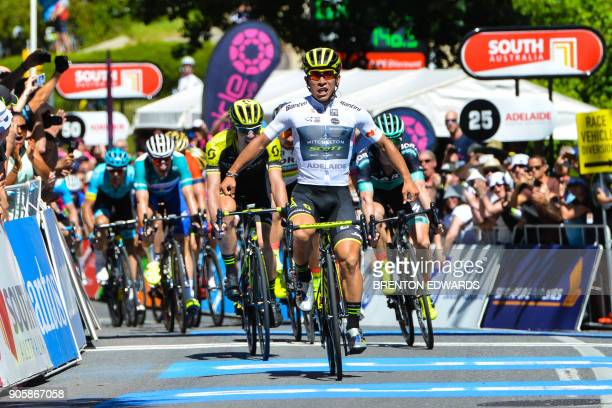 MitcheltonScott rider Caleb Ewan of Australia reacts as he crosses the finish line on the second day of the Tour Down Under cycling race in Adelaide...