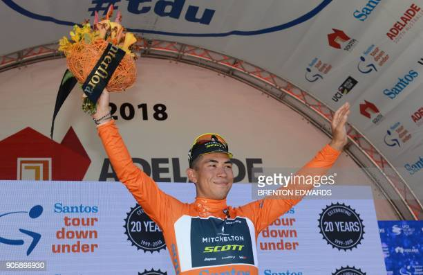MitcheltonScott rider Caleb Ewan of Australia waves after winning the second day and becoming the new race leader of the Tour Down Under cycling race...
