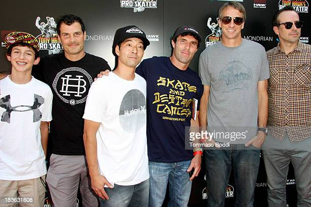 Mitchie Brusco Mat Hoffman Lincoln Ueda Andy Macdonald Tony Hawk and Jason Lee attend the 9th annual Tony Hawk Stand Up For Skateparks Benefit held...