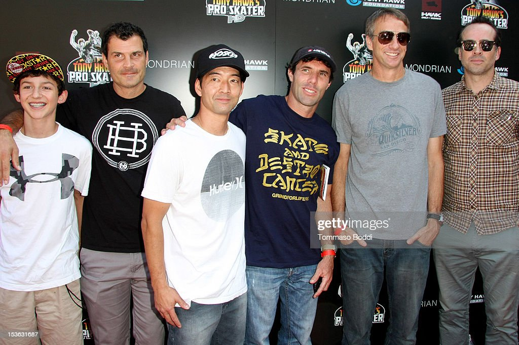 Mitchie Brusco, Mat Hoffman, Lincoln Ueda, Andy Macdonald, Tony Hawk and Jason Lee attend the 9th annual Tony Hawk Stand Up For Skateparks Benefit held at Ron Burkle's Green Acres Estate on October 7, 2012 in Beverly Hills, California.