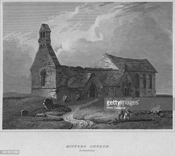 Mitford Church Northumberland' 1814 From The Border Antiquities of England and Scotland Vol II by Walter Scott Esq [Longman Co London 1814] Artist...