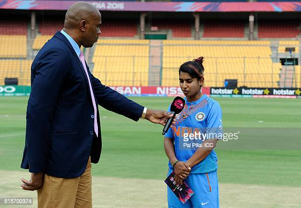 Mithali Raj Captain of India has a word with Ian Bishop after the toss before the start of the Women's ICC World Twenty20 India 2016 match between...
