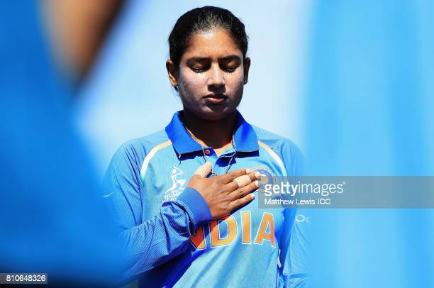 Mithali Raj captain of India looks on ahead of the ICC Women's World Cup 2017 match between South Africa and India at Grace Road on July 8 2017 in...