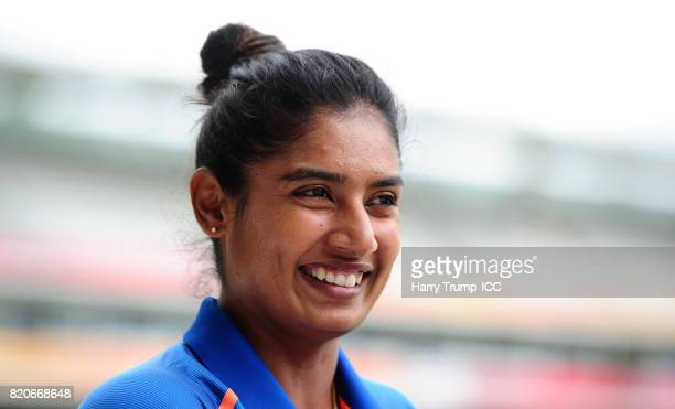Mithali Raj Captain of India looks on during the England v India Final ICC Women's World Cup 2017 Previews at Lord's Cricket Ground on July 22 2017...