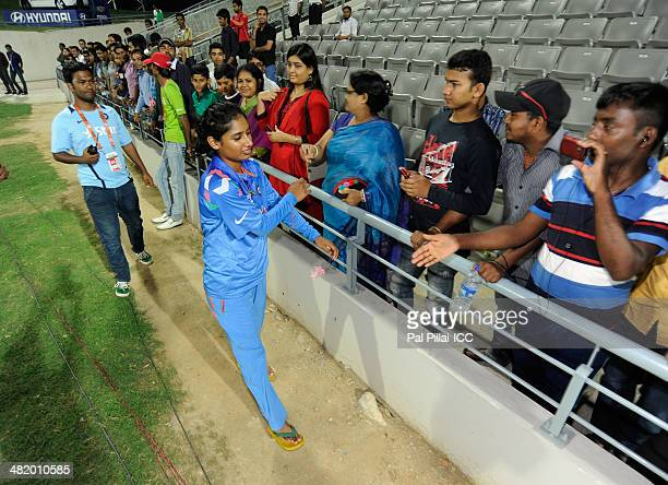 Mithali Raj captain of India shake hands with the Indian supporters after the ICC Women's World Twenty20 Playoff 2 match between Pakistan Women and...