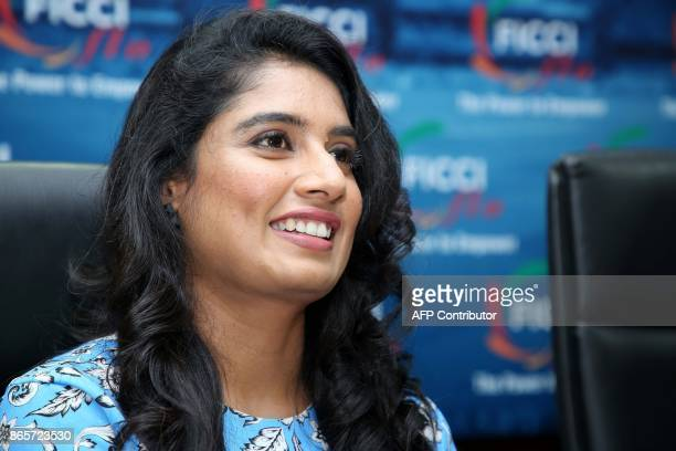 Mithali Raj captain of the Indian women's cricket team takes part in a session on women's participation in sports organised by the Federation of...