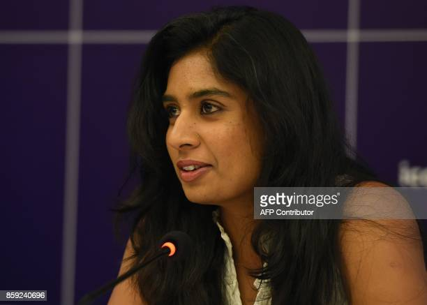 Mithali Raj captain of the women's cricket team addresses a press conference regarding the ICC Women's Championship in New Delhi on October 9 2017 /...