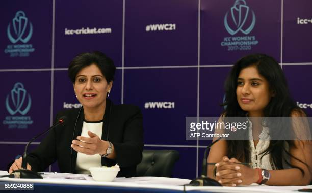 Mithali Raj captain of the women's cricket team and former cricketer turned commentator Anjum Chopra address a press conference regarding the ICC...