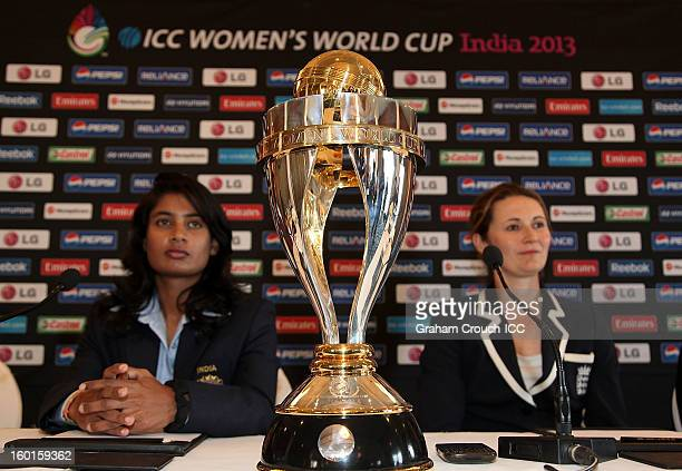 Mithali Raj of India and Charlotte Edwards of England with the ICC Womens World Cup trophy attend the Captains Group A Press Conference at the Taj...