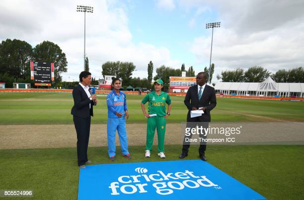 Mithali Raj of India and Sana Mir of Pakistan take part in the coin toss during the ICC Women's World Cup match between India and Pakistan at The...