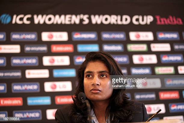 Mithali Raj of India at the ICC Womens World Cup trophy attends the Captains Group A Press Conference at the Taj Mahal Palace Hotel on January 27...