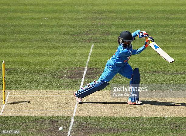 Mithali Raj of India bats during game two of the women's one day international series between Australia and India at Blundstone Arena on February 5...